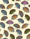 Seamless colorful umbrella pattern vector illustration