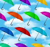 Seamless colorful umbrellas background. Vector illustration Royalty Free Stock Photography
