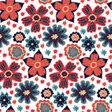 Seamless colorful vector daisy flowers pattern Stock Photo