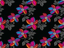Seamless colorful vector flower pattern. On dark background Stock Photos