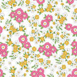 Seamless colorful vector pattern with pink, yellow flowers and leaves Royalty Free Stock Photos