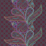 Seamless colorful vertical lace pattern with paisley. Vector background. Stock Photo
