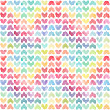 Seamless colorful watercolor painted hearts pattern stock images