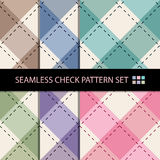 Seamless colourful check and cross dot line pattern background set. Royalty Free Stock Images