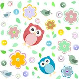 Seamless colourful owl pattern for kids Stock Images