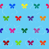 Seamless colourful pattern with butterflies on cloud background Royalty Free Stock Photos