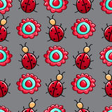 Seamless colourful pattern with ladybugs and flower Stock Photo