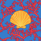 Seamless colourful sea coral pattern in elegant stock illustration