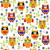 Seamless colourfull owl pattern for kids in vector Stock Photo