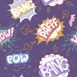 Seamless Comic Book Explosion, Bombs And Blast Set Royalty Free Stock Image