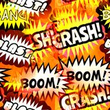 Seamless Comic Sound Effect Background. Crash, bang, blast and boom seamless background textile print Royalty Free Stock Image