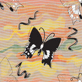 Seamless composition with black butterflies. Vector seamless composition with black butterflies on colorful wavy and grid watercolor background stock illustration