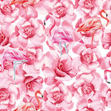 Seamless composition pink flamingo and roses white background stock illustration