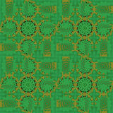 Seamless concentric circle ornaments green gold Stock Image
