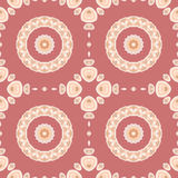 Seamless concentric circles pattern pastel red beige. Abstract geometric seamless background. Regular concentric circles pattern with floral elements in beige royalty free illustration