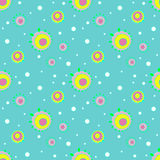 Seamless concentric circles pattern turquoise white pink yellow violet green Royalty Free Stock Photo