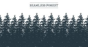 Seamless coniferous forest panorama. Vector illustration of a seamless coniferous forest panorama strip border. Vintage hand-drawn style Stock Images