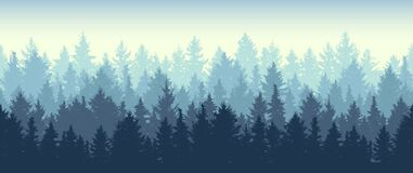 Free Seamless Coniferous Winter Forest Background. Nature, Landscape. Pine, Spruce, Christmas Tree. Fog Evergreen Coniferous Trees. Stock Photo - 170387680