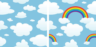Seamless consists of clouds and rainbow. Two seamless consists of clouds and rainbow Stock Photo
