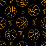 Seamless contours of basketballs Stock Photo
