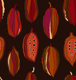 Seamless contrast pattern with cocoa beans. Royalty Free Stock Photo