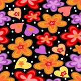 Seamless contrasting background with flowers and hearts. On the black area Royalty Free Stock Photos