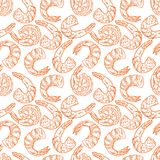 Seamless cooked shrimps. Cute seamless background of cooked different shrimps. Hand-drawn illustration Royalty Free Stock Photography