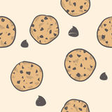 Seamless cookie background. Doodle style seamless cookie treats tiled vector background stock illustration