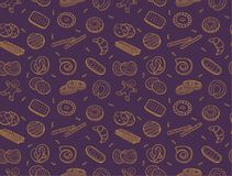 Doodle cookies and biscuit seamless pattern Royalty Free Stock Images