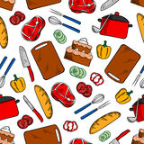 Seamless cooking dinner sketched pattern Stock Images