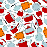 Seamless cooking utensils and tableware pattern. Seamless cooking utensils and dinnerware, silverware and glassware pattern background with red cooking pots and Stock Photo