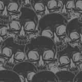 Seamless cool black skull tattoo pattern Royalty Free Stock Photo