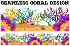 Seamless coral reef and fish underwater Royalty Free Stock Photography