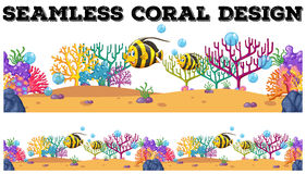 Seamless coral reef and fish underwater Stock Images