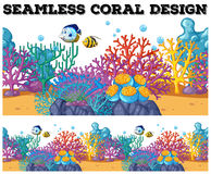 Seamless coral reef under the ocean. Illustration Stock Photo