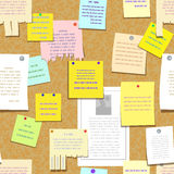 Seamless cork bulletin board with notes, advertise Stock Photos