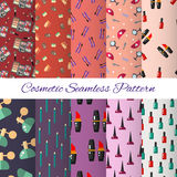 Seamless cosmetic pattern. Make up set design elements -  illustration. Royalty Free Stock Photo