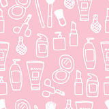 Seamless Cosmetics Icon. Illustration of cute hand drawn cosmetics icon seamless pattern Royalty Free Stock Photos