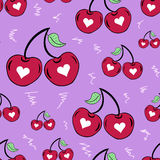Seamless couples of cherries Royalty Free Stock Photo