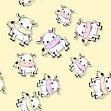 Seamless cow pattern with drop shadow on yellow Royalty Free Stock Images