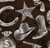 Seamless cowboy pattern. In engraving style - vector  illustration Royalty Free Stock Photography