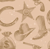 Seamless cowboy pattern in engraving style Royalty Free Stock Photos