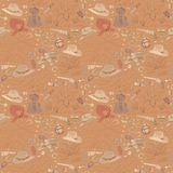 Seamless cowboy pattern with landscapes Royalty Free Stock Photography