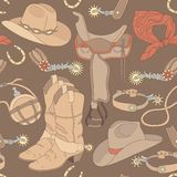 Seamless cowboy pattern Stock Photography