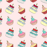 Seamless cream cupcake and cake pattern. With pink background Stock Photo