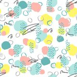 Seamless creative pattern. Artistic repeating background with abstract hand drawn shapes. Design for textile, wallpapper, poster, card, invitation Royalty Free Stock Images