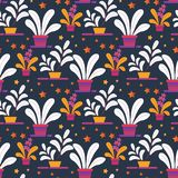 Seamless Creative Pattern of Homeplants in Pots vector illustration