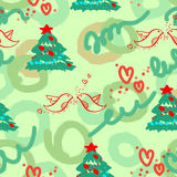 Seamless Cristmas texture. Seamless texture with cartoon firs and red birds on the green background Royalty Free Stock Images