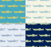 Seamless crocodile pattern. Seamless crocodile cartoon pattern in blue and green colors Royalty Free Illustration
