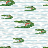 Seamless of crocodile portrait on white background with light Royalty Free Stock Photos
